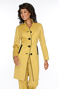Citron-Black Trim walkingcoat with matching wide leg pants
