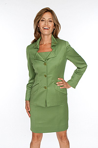 Avocado English Satin Gabardine dress and matching jacket